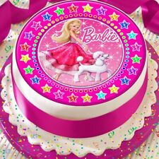 BARBIE AND HER POODLE PINK STAR BORDER PRECUT EDIBLE BIRTHDAY CAKE TOPPER