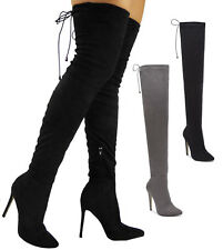 Womens Thigh High Boots Ladies Over The Knee Stiletto Heel Lace Up Shoes Size