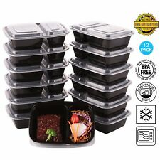 2 Compartment Lunch Box Food Storage Container Microwave Safe with Airtight Lids