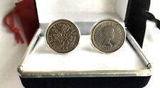 A YEAR TO CELEBRATE. SILVER SIXPENCE COINS IN CUFF LINKS / ALL YEARS 1928-1967