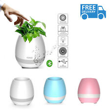 Music Flower Pot Bluetooth Speaker LED Light Green Touch Plant USB Stereo