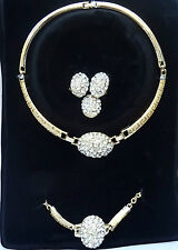 Beautiful Choker Crystal Plated Costume Fashion Party Bridal Necklace Set