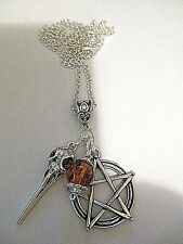 WICCA GOTH PAGAN NECKLACE. BIRD SKULL LARGE PENTAGRAM+COPAL AMBER ON CHAIN