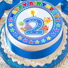 CANDLE AGE 2 2ND BIRTHDAY BLUE 7.5 INCH PRECUT EDIBLE CAKE TOPPER DECORATION