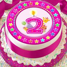 CANDLE AGE 2 2ND STAR BORDER PINK 7.5 INCH PRECUT EDIBLE CAKE TOPPER DECORATION