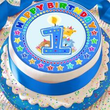 CANDLE AGE 1 1ST BIRTHDAY BLUE 7.5 INCH PRECUT EDIBLE CAKE TOPPER DECORATION