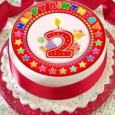 CANDLE AGE 2 2ND BIRTHDAY RED 7.5 INCH PRECUT EDIBLE CAKE TOPPER DECORATION