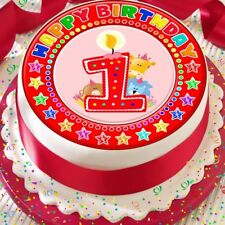 CANDLE AGE 1 1ST BIRTHDAY RED 7.5 INCH PRECUT EDIBLE CAKE TOPPER DECORATION