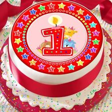 CANDLE AGE 1 1ST BIRTHDAY RED STAR BORDER 7.5 INCH PRECUT EDIBLE CAKE TOPPER