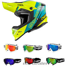 O'NEAL 8 séries NANO Jaune Néon CASQUE CROSS Casque MX MOTOCROSS Traverser + HP7