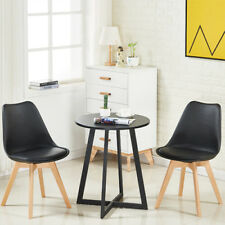 1/2/4 Of Dining Tulip Chair Solid Wood Legs Plastic Soft Padded Seat 4 Colors
