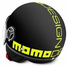 CASCO MOMO DESIGN FIGHTER NERO FROST GIALLO FLUO