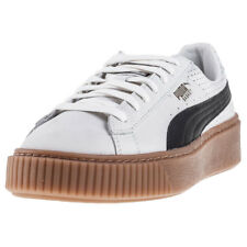 Puma Basket Platform Perf Gum Womens White Leather Casual Trainers Lace-up