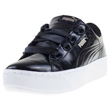 Puma Vikky Platform Ribbon Patent Womens Black Synthetic Casual Trainers Lace-up
