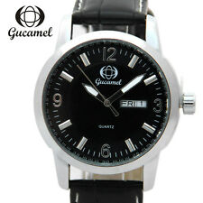Luxury Mens Fashion Date Sport Stainless Steel Leahter Quartz Analog Wrist Watch