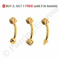 GOLD Eyebrow Bar Curved Barbell  Piercing Banana Ring 16g Anodized Steel DICE
