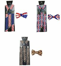 CRAVATTA A FARFALLA + Bretelle Set AMERICAN BANDIERA UK UNION JACK maculato