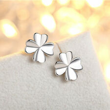 Four Leaf Clover Silver Earring Good Luck Wedding Exams Shamrock Wish - FREE P&P