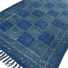 Blue Indigo Cotton Block Print Accent Area Dhurrie Rug Woven Weave Boho Chic Ind