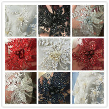 "51"" 3D Floral Embroidery Wedding Lace Fabric Beaded Bridal Lace Fabric 1 Meter"