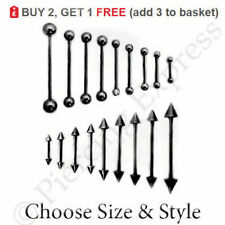 BLACK Tongue Bar Straight Barbell Nipple Tragus Ear Piercing Surgical Steel Ball