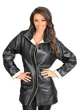 Ladies Classic Parka Real Leather Coat Womens Trim Jacket Lulu Black-Beige