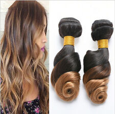 4 Tissages Vierge Cheveux Extensions Loose Wave Human Hair Weaves Ombre #1B/30