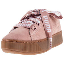 Puma Vikky Platform Ribbon Bold Womens Pink Suede Casual Trainers Lace-up