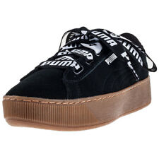 Puma Vikky Platform Ribbon Bold Womens Black Suede Casual Trainers Lace-up