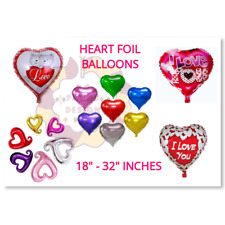 GIANT HEART FOIL BALLOONS LOVE Romantic Valentines Day Couples His-Her baloons