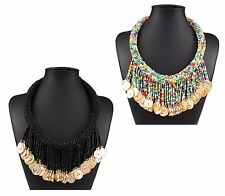Bead Tassel Statement Necklace Ethnic Boho Tribal Black Gold Coins Money Collar