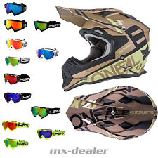 O'NEAL 2series spyde ORO CASCO CROSS Casco MX Motocross Cross HP7 GAFAS