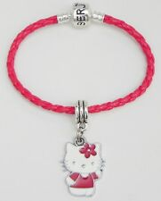 """Hello Kitty Red Flower and Shirt on Red Braided Serjaden Bracelet 6"""" to 8""""  #271"""