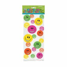 Cellophane Rainbow Party/ smiley faces Bags, Pack of 20