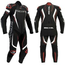 RICHA FRANCORCHAMPS 1 Piece Black/White/Red Motorbike Leather Race Track Suit