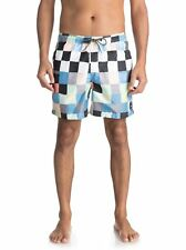 "QUIKSILVER MENS SHORTS.NEW RESIN CHECK VOLLEY 15"" LINED SWIM BOARDIES 8S 13 WBB6"