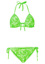 RAINBOW donna bikini triangolo costume da Bagno Laccio al collo push-up verde