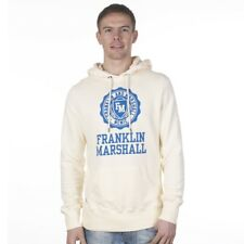 """Mens Hoody Franklin and Marshall """"Stamp"""" F&M Thick Hooded  Jumper NEW WHITE"""