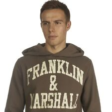 """Mens Hoody Franklin and Marshall """"Stamp"""" F&M Thick Hooded  Jumper NEW BROWN"""