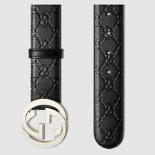 Gucci signature embossed leather  belt black silver buckle genuine made in Italy