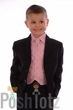 Boys Suits, Formal, Wedding ,Pageboy 5 Piece Pink & Black Suit (0-3mths-15yrs)