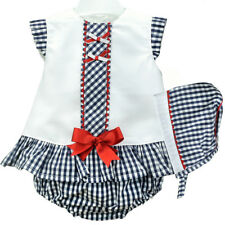Beautiful Spanish Baby Girl Dress, Pants and Bonnet Set / Outfit.