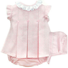 Beautiful Spanish Baby Girl Pink Dress, Pants and Bonnet Set / Outfit.