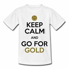 Smiley World Keep Calm Go For Gold Teenager T-Shirt von Spreadshirt®