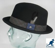 Kangol Tweed Player Pork Pie Trilby Cappello nero PORKPIE feltro-lana LANA NUOVO