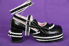 S-07 Black White Black Maid Gothic Lolita Pumps Platform Shoes Shoes Cosplay