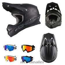 O'NEAL 3series FLAT NEGRO CASCO CROSS Casco MX Motocross Cross HP7 GAFAS ENDURO