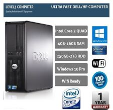 DELL DESKTOP TOWER PC INTEL QUAD CORE CPU 2TB HD 16GB RAM WI-FI WINDOWS 10