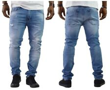 Herren Jeans Hose Denim Jeans Biker Destroyed Blau Slim Fit Clubwear NEU260118