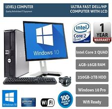 "DELL DESKTOP TOWER PC INTEL QUAD CORE 19"" TFT 2TB HD 16GB RAM WI-FI WINDOWS 10"
